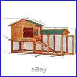 58 Wood Rabbit Hutch Cage Chicken Coop Hen Small Pet Animal Poultry Cage Run US