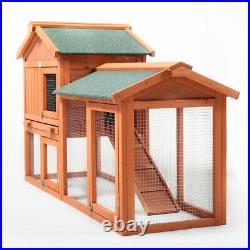 58 Wooden Chicken Coop Rabbit Hutch for Small Animal Poultry Cage WithRun Outdoor