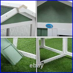 58 Wooden Rabbit Hutch Chicken Coop Pet House Bunny Cage withRamp Run Green&White