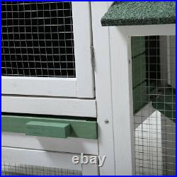 58Chicken Coop Wooden Bunny Rabbit Hutch withRamp Removable Tray Poultry Cage New