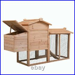 59'' Chicken Coop Rabbit Hutch Large Hen House Pet Wooden Outdoor Cage with Run