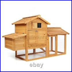 59 Wooden Chicken Coop Hen Hutch Bunny Rabbit Cage withNesting Box and Run House