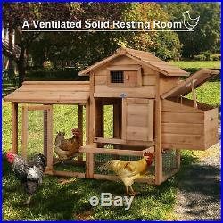 60'' Chicken Coop Rabbit Hutch Large Hen House Pet Wooden Outdoor Cage with Run