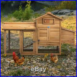 60'' Chicken Coop Rabbit Hutch Outdoor Cage with Run Large Hen House Pet Wooden
