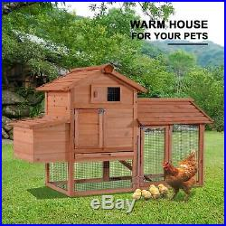 60'' Chicken Coop Rabbit Hutch Poultry Hen House Cage Wooden withRamp