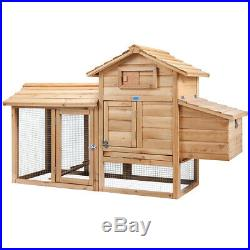 60'' Chicken Coop Wooden House Small Animal Cage Rabbit Hutch Backyard with Run