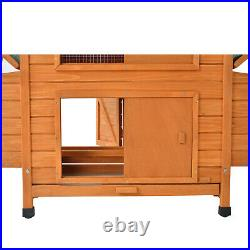 60 Large Wooden Chicken Coop Rabbit Hutch Bunny Hen Animal Cage House US