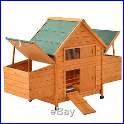 60 Large Wooden Chicken Coop Rabbit Hutch Bunny Hen Animal Cage House withRun