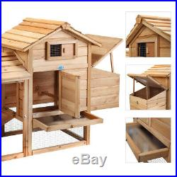 60 Outdoor Wooden Chicken Coop Hutch 2-Tier withSpacious Run & Egg Collection Box