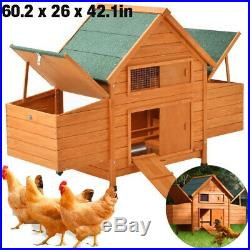 60New A-Frame Wood Wooden Rabbit Hutch Small Animal House Pet Cage Chicken Coop