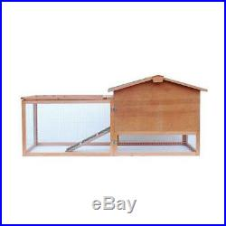 61 2-Tier Wooden Rabbit Bunny Guinea Pig Hutch Small Pet House Ramp Outdoor