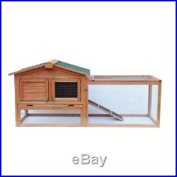 61 Two-tier Wooden Rabbit Hutch Cage Chicken Coop House Bunny Hen Pet Animal
