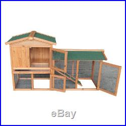 61 Wooden Chicken Coop Hen House Rabbit Wood Hutch Poultry Cage Habitat