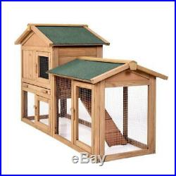 61 Wooden Chicken Coop Hen House Rabbit Wood Hutch Poultry Cage Habitat Sturdy