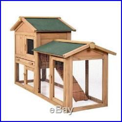 61 Wooden Chicken Coop House Rabbit Wood Hutch Poultry Cage For Small Animal