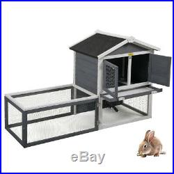 61 Wooden Chicken Coop Rabbit Hutch Hen House Poultry Pet Cage Waterproof Gray