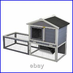 61 Wooden Rabbit Hutch Chicken Coop Small Animal House Outdoor withRun Resistant