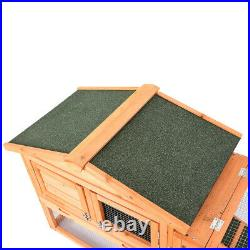 61Wooden Rabbit Hutch Cage Chicken Coop House Bunny Hen Pet Animal Natural Wood