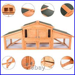 62-70 Wooden Rabbit Hutch Cage Chicken Coop House Bunny Hen Pet Animal Natural