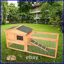 62 Large Wooden Chicken Coop Rabbit Hutch Bunny Hen Animal Cage House withRun