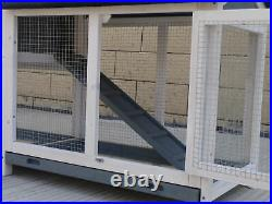 62 Pet Rabbit Hutch Wooden House Chicken Coop for Small Animals Gray & White