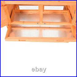 62' Wooden Rabbit Hutch Bunny House Small Animal Pet Cage With Backyard Run Ramp