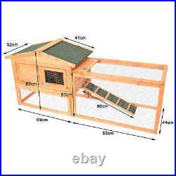 62Wooden Rabbit Hutch Bunny House Small Animal Pet Cage With Backyard Run Ramp