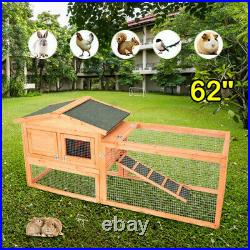 62Wooden Rabbit Hutch Cage Chicken Coop House Bunny Hen Pet Animal Natural Wood