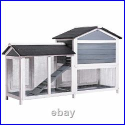 62Wooden Rabbit Hutch Chicken Coop House Bunny Hen Pet Animal Cage Natural Wood