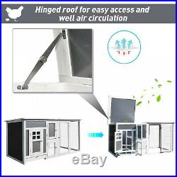 63 Wooden Tall Indoor Outdoor Chicken Coop House with Run and Nest Box