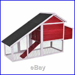 64'' Large Wooden Rabbit Hutch Chicken Coop Bunny Animal Hen Cage House withRun