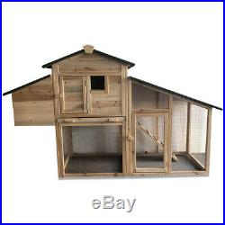 66 Chicken Coop Rabbit Hutch Large Hen House Wooden Animal Pet Cage Backyard FY