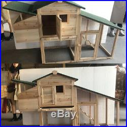66 Large Wooden Chicken Coop Hen House Rabbit Hutch Cage Pet with Nesting Box Run