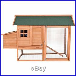 67'' Pet Wooden House Rabbit Hutch Chicken Coops Cage Nest Box with Tray Run