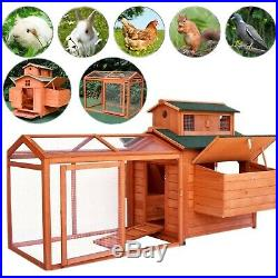 70 Chicken Coop Hen Wooden Rabbit House Wood Animal Hutch Cage withRun Backyard