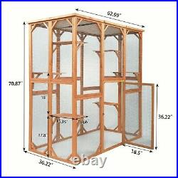 70''H Outdoor Wooden Cat House Rabbit Enclosure Weatherproof Cage With 6 Platforms