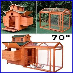70 Large Wooden Rabbit Hutch Chicken Coop Pet House Bunny Cage with Ramp Run