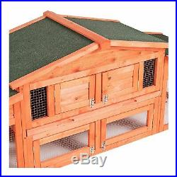 70 Wooden Chicken Coop Rabbit Hutch House Cage Small Animals with 2 ramp