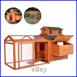 70'' Wooden Poultry Chicken Coop Hen House Rabbit Bunny Hutch Cage Home Backyard