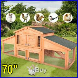 70 Wooden Two Story Outdoor Deluxe XL Rabbit Bunny House Hutch Pet Cage