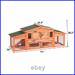 71 Large Wooden Backyard Chicken Coop Hen House Cage Rabbit Hutch withTray Ramp