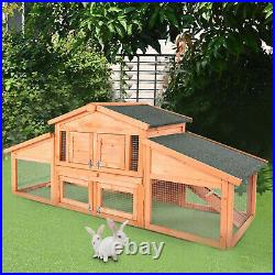71 Large Wooden Rabbit Hutch Bunny House Pet Cage with 2 Runs Outdoor Hen Coop