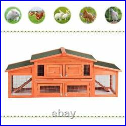 71 Wooden Rabbit Hutch Cage Bunny Chicken Coop House Small Animal Pet Run Ramp