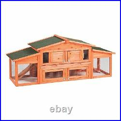 71Large Wooden Backyard Chicken Coop Hen House Pet Cage Rabbit Hutch withTray Ram