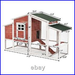 73.6 H Chicken Hutch Wooden Large Pet House Coop for Guinea Pigs Ferret Rabbits