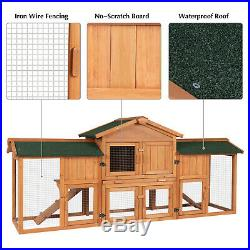 74 Large Wooden Rabbit Hutch Bunny House Pet Cage with 2 Runs Outdoor Hen Coop