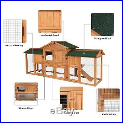 74 Wooden Rabbit Hutch Hen Coop House Pet Cage with Tray Backyard Shelter