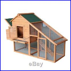 75 Two-tier Wooden Chicken Coop Rabbit Poultry Cage Habitat with Egg Case &Tray