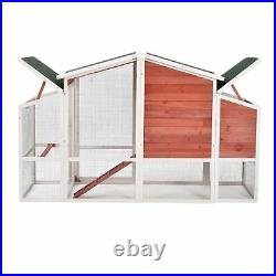 77.9 Chicken Coop Rabbit Farmhouse Wooden Pet Cage Bunny Hutch with Ramp and Tray