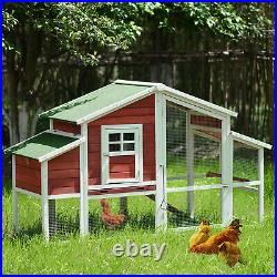 77.9 Chicken Coop Rabbit House Wooden Small Animal Cage Bunny Hutch USA STOCK